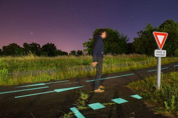 Piste cyclable photoluminescente Bordeaux Montesquieu – OliKrom©