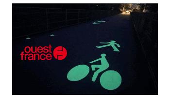 Piste cyclable luminescente LuminoKrom Brest Métropole